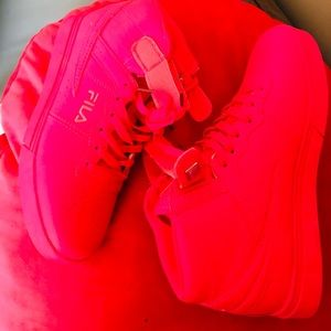 Bright Pink Hightop Fila